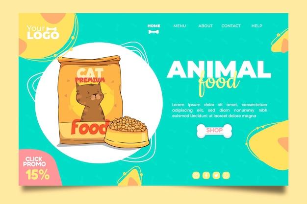 동물 식품 방문 페이지 템플릿 무료 벡터