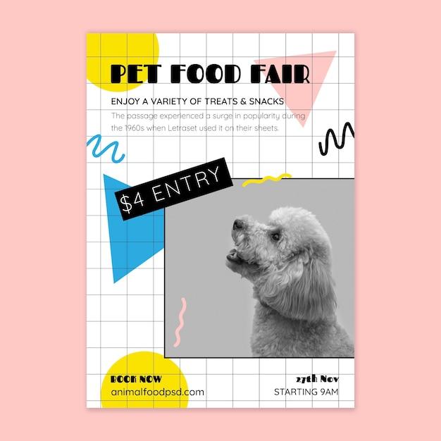 Шаблон плаката корм для животных Бесплатные векторы