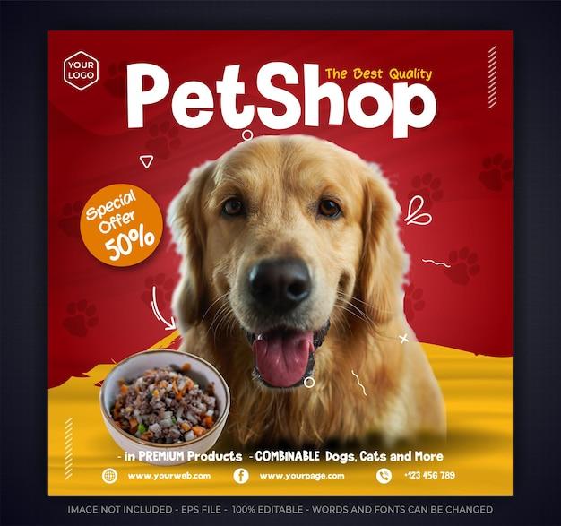 Animal food promotion instagram post template Premium Vector