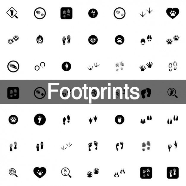 Animal footprints icon set Free Vector