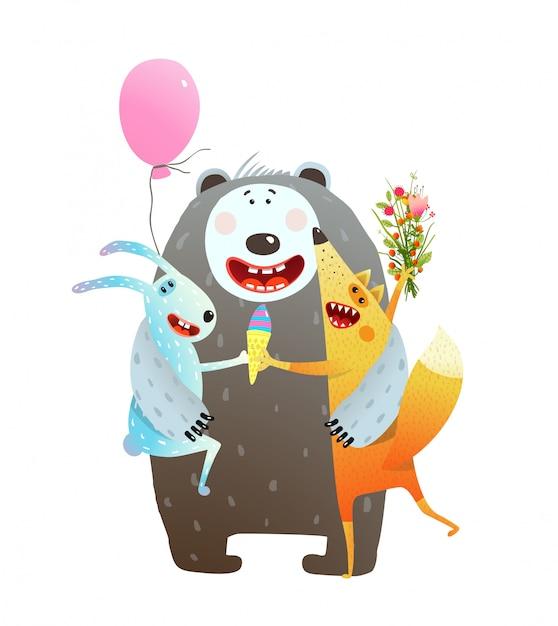 Животное дружба медведь кролик лис хуг Premium векторы