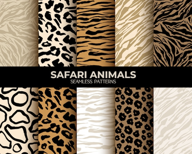 Animal fur print seamless patterns Free Vector