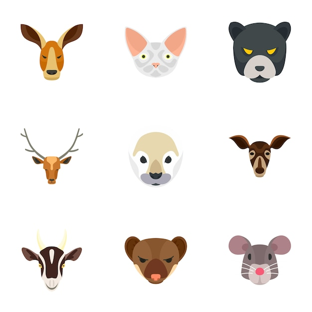 Animal head icon set, flat style Premium Vector