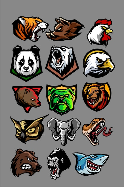Animal head mscot deisgn Premium Vector