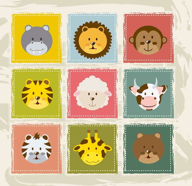 animal icons over vintage background vector illustration Premium Vector