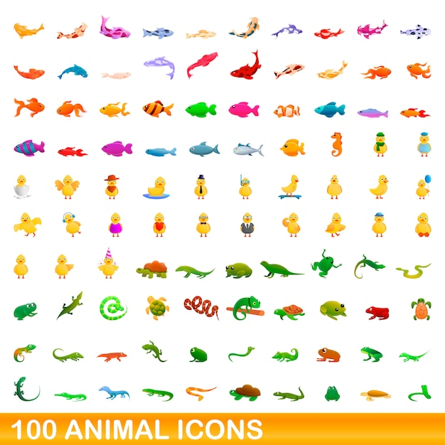 Animal icons set, cartoon style Premium Vector
