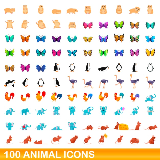 Animal icons set, cartoon style Premium Vector