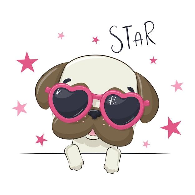 안경 귀여운 여자 강아지와 동물 그림입니다. 프리미엄 벡터