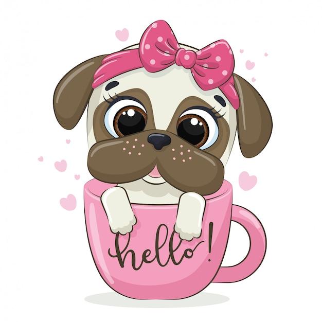 Животная иллюстрация с милой маленькой собакой в чашке. Premium векторы