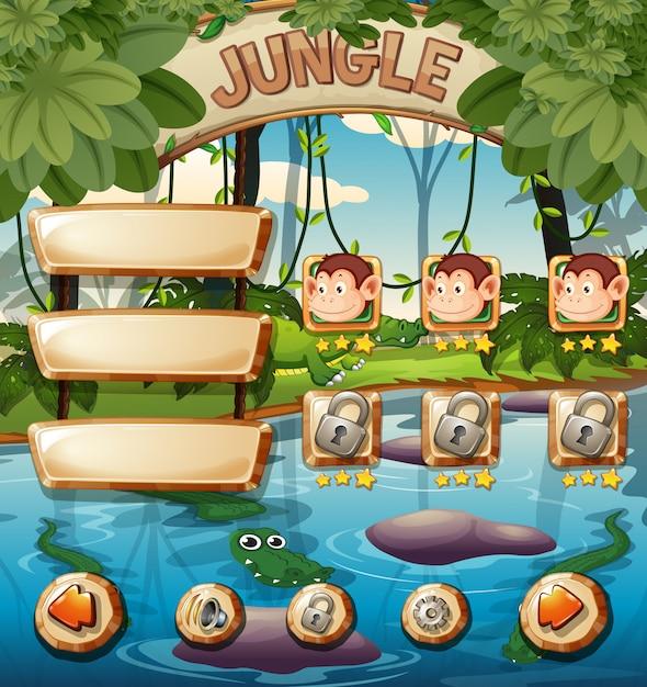 Animal jungle game template Premium Vector