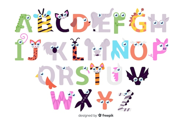 Animal letters from a to z alphabet Free Vector