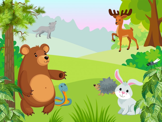 Animal life in the forest Free Vector