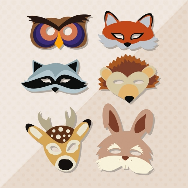 Animal masks collection Free Vector