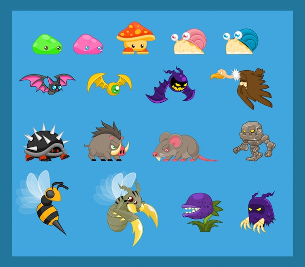 Animal and monster character illustration Premium Vector