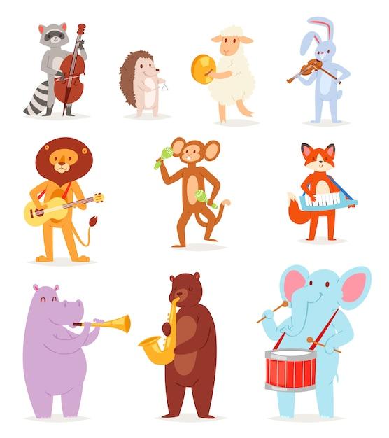 흰색 배경에 드럼 코끼리 또는 원숭이의 악기 기타와 바이올린 그림 세트에서 연주 동물 음악 동물 캐릭터 음악가 사자 또는 토끼 프리미엄 벡터
