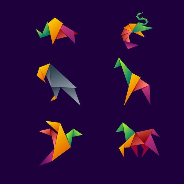 Animal origami logo Premium Vector