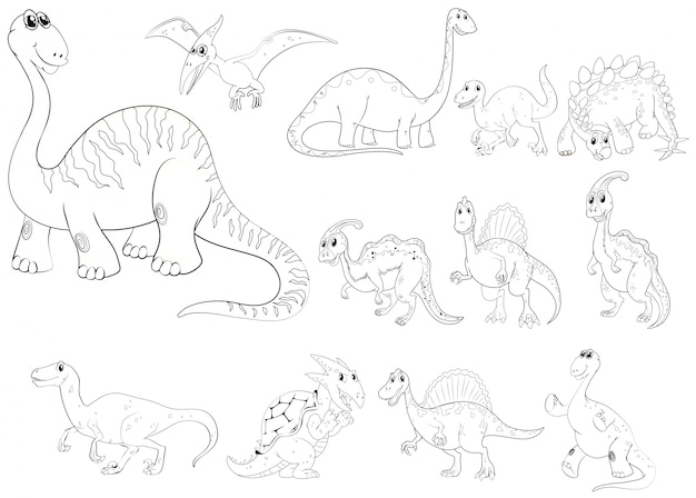 Animal outline for different types of dinosaurs Free Vector