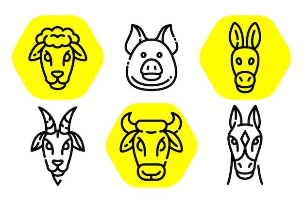 動物の輪郭の頭のイラスト。 Premiumベクター