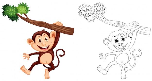 Profilo animale per scimmia appesa su legno Vettore gratuito