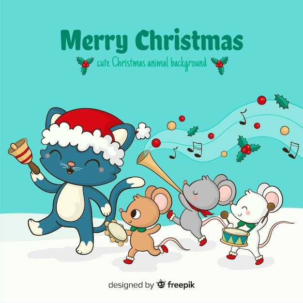 Animal parade christmas background Free Vector