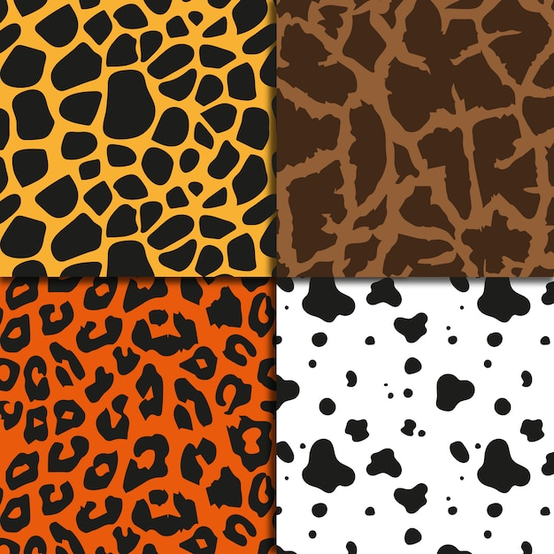 animal print background collection vector free download