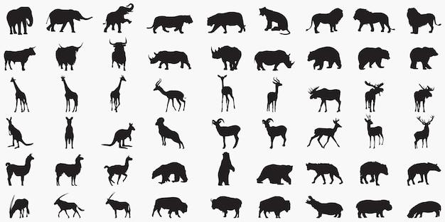 Animal set silhouettes Premium Vector