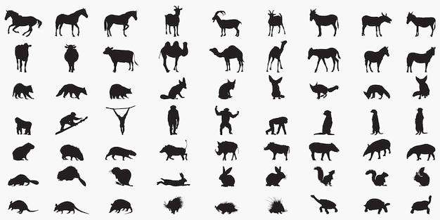 Набор силуэтов животных Premium векторы