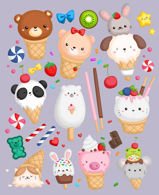 Animal shape ice cream Premium Vector