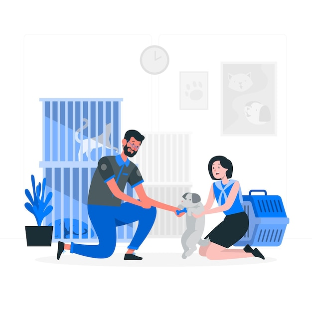 Animal shelter concept illustration Free Vector