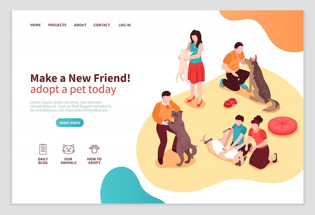Animal shelter isometric web page with human characters during communication with dogs and cats vector illustration Free Vector