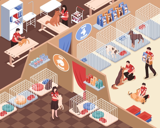 Animal shelter with staff volunteers rooms for dogs and cats vet service isometric vector illustration Free Vector