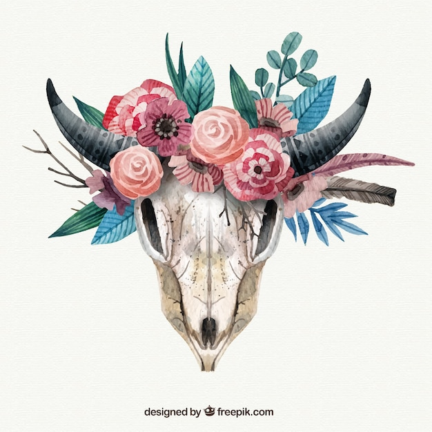 Animal skull with flowers in watercolor\ style