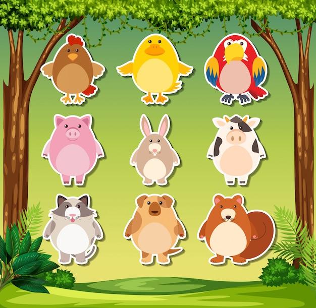 Animal sticker on nature background Premium Vector
