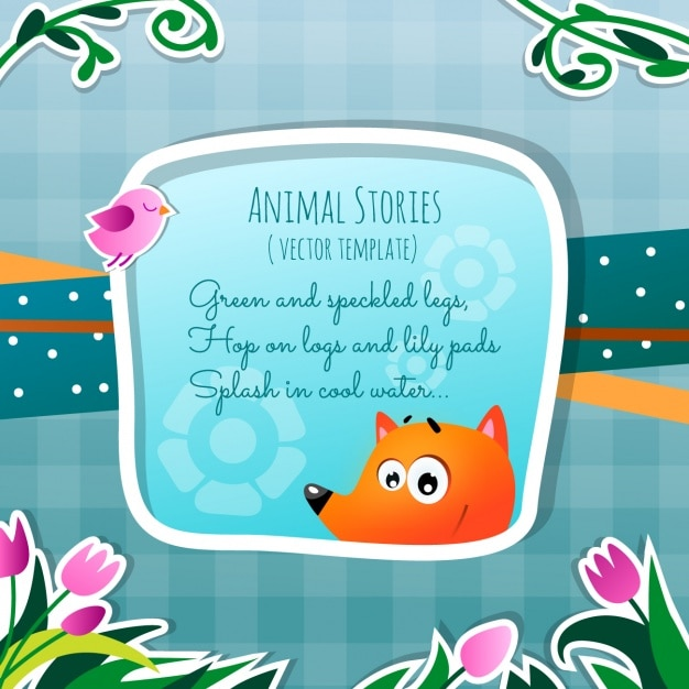 Animal stories, the fox Free Vector
