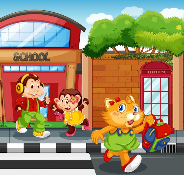 Animal student in front of school Free Vector