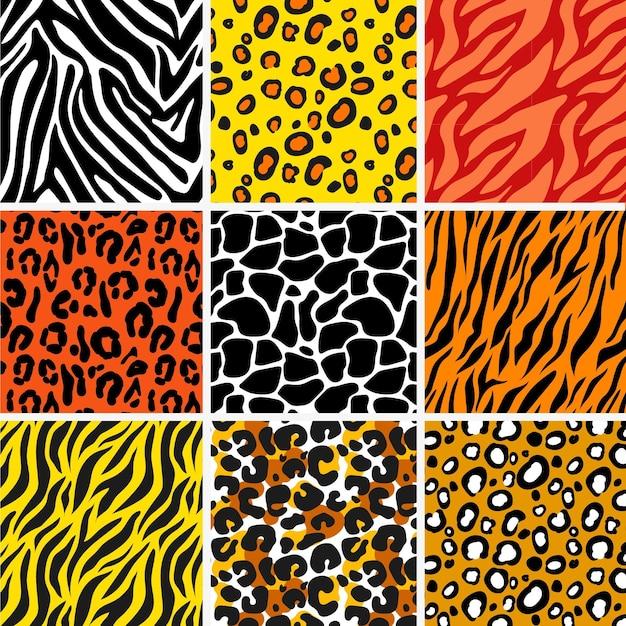 동물 텍스처 패턴 컬렉션 프리미엄 벡터