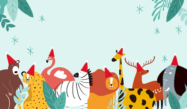 Animal theme merry christmas card vector Free Vector