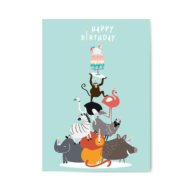 Animal themed birthday postcard vector Free Vector