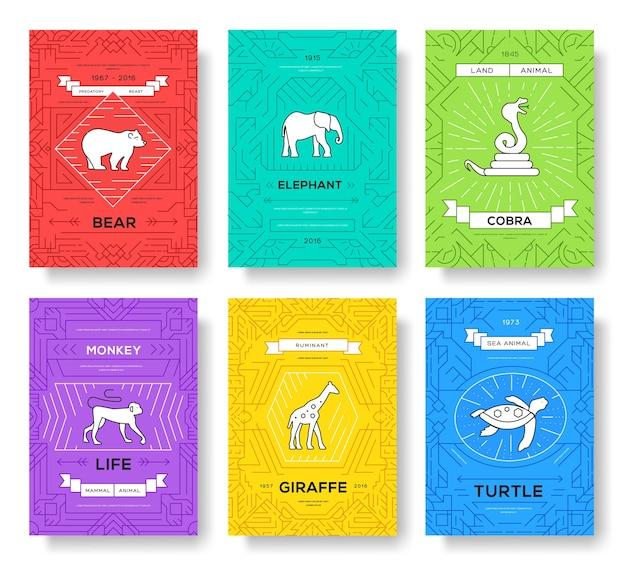 動物細線パンフレットカードセット Premiumベクター