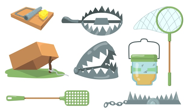 Набор ловушек для животных. ловушка для мыши, металлическая ловушка для медведя, изолированный сачок. векторные иллюстрации шаржа для охоты, ловли животных, концепции жестокости Бесплатные векторы
