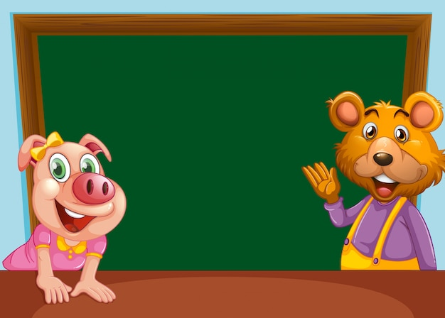 Animal with chalkboard banner Free Vector