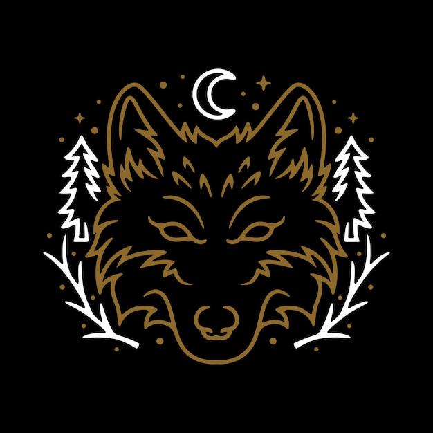Animal wolf night line graphic illustration vector art t-shirt design Premium Vector