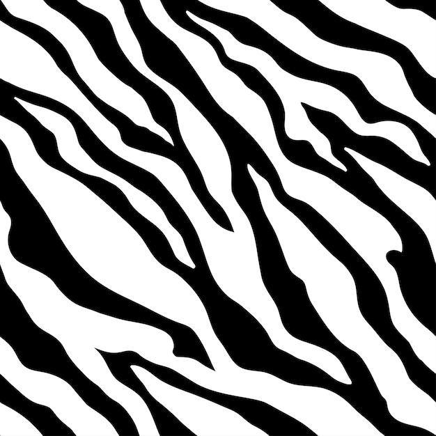 Animal zebra print. black and white colors. monochrome seamless pattern