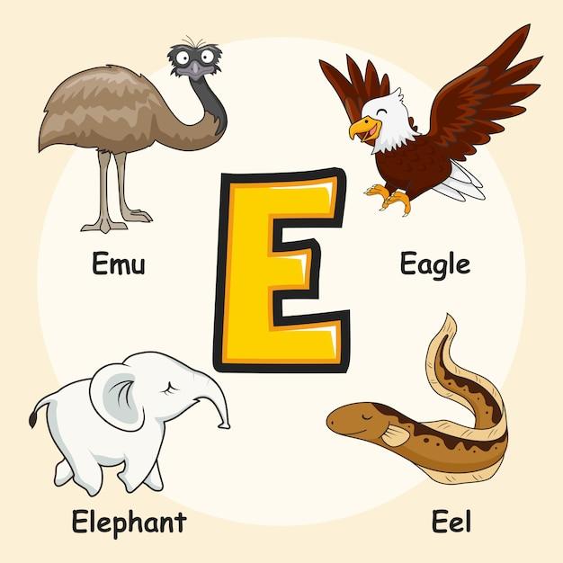 動物のアルファベット文字e Premiumベクター