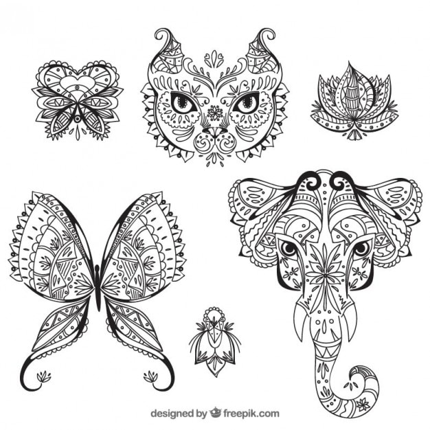 Coloring Pictures Of Animals And Flowers : Animals and flowers boho style drawn vector free download