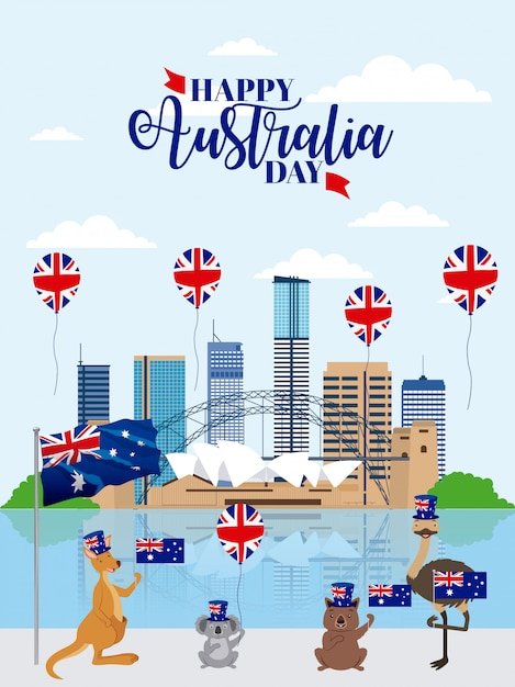 Animals australia day celebration Free Vector