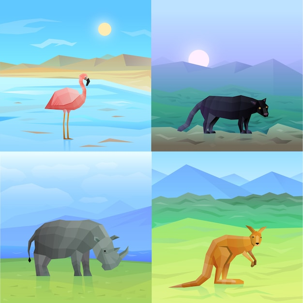 Animals background set Free Vector