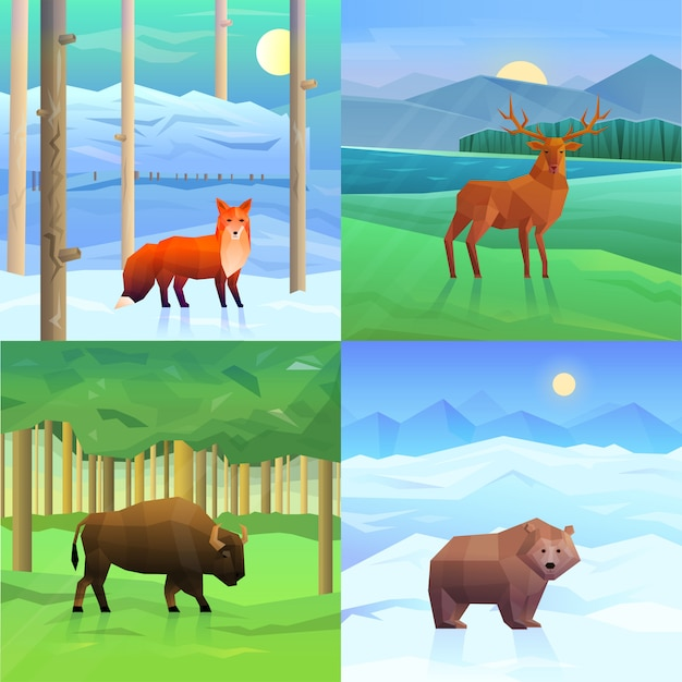 Animals background set Free Vector