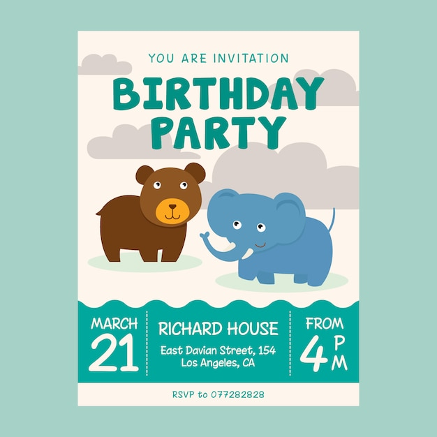 Animals Birthday Kids Invitation Flyer Template Premium Vector