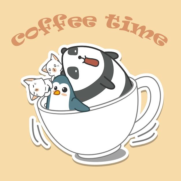 Animals in cap of coffee. coffee time Premium Vector